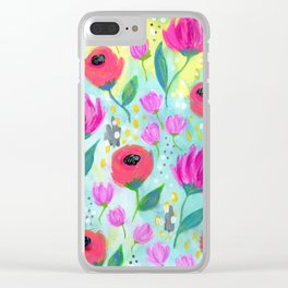 Pink and Coral Flowers, Floral Painting Pattern, Girl's Room Decor, Interior Design Clear iPhone Case