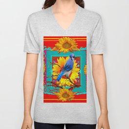 Decorative Colorful  Ornate Red-Blue Jay Sunflowers Unisex V-Neck