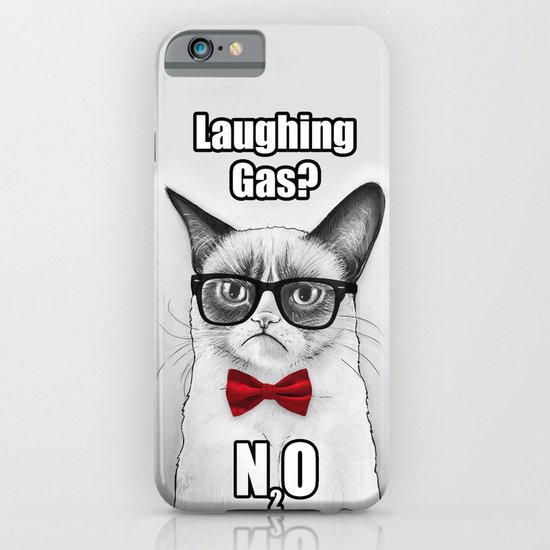 Grumpy Chemistry Cat Geek Science Meme Whimsical Animals in Glasses iPhone & iPod Case