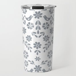 Silver gray symmetric floral bird heart Travel Mug