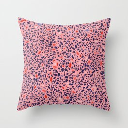 Terrazzo pink red blue Throw Pillow