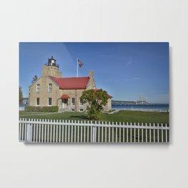 Mackinac Bridge and Mackinaw Lighthouse Metal Print