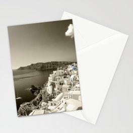 Santorini Seascape in sepia Stationery Cards