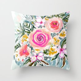 SMELLS LIKE EASE Floral Throw Pillow
