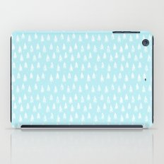Merry christmas- abstract winter pattern with white trees and snow iPad Case