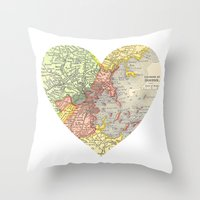 boston map Throw Pillows featuring I Love Boston Vintage Map by Eyne Photography