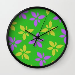 Illustration of flowers(green background) Wall Clock