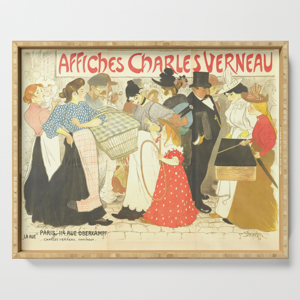 """Theophile Steinlen """"the Street (La Rue), Poster For The Printer Charles Verneau"""" Serving Tray by alexandra_arts"""