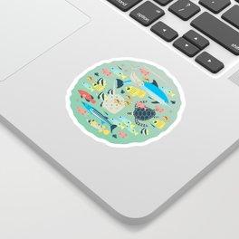 Underwater World with Coral Reef Animals Sticker
