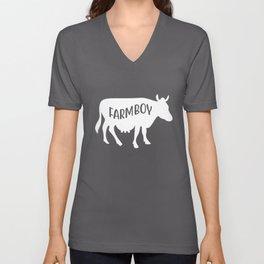 Cow Design Saying Farm Boy, Great Gift For Country Farmer design Unisex V-Neck