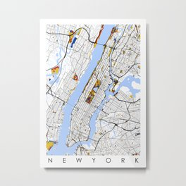 New York City Map United States Mondrian color Metal Print