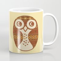 navajo Mugs featuring Navajo Owl  by Terry Fan