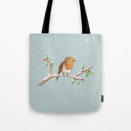 Robin on Branch Tote Bag