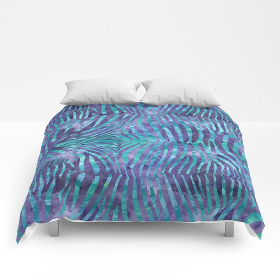 Blue Zebra Print Comforters