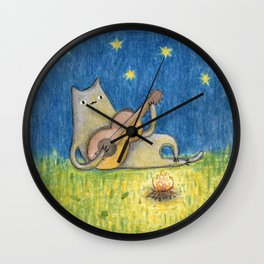 Campfire Cat Wall Clock