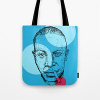 allyson johnson Tote Bags featuring Robert Johnson by mr.defeo