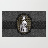 literary Area & Throw Rugs featuring Literary girl - La littéraire by Andi Lee artworks