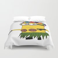 gore Duvet Covers featuring Hawaii Minion  by The Big Duo