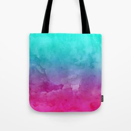 Modern bright summer turquoise pink watercolor ombre hand painted background Tote Bag