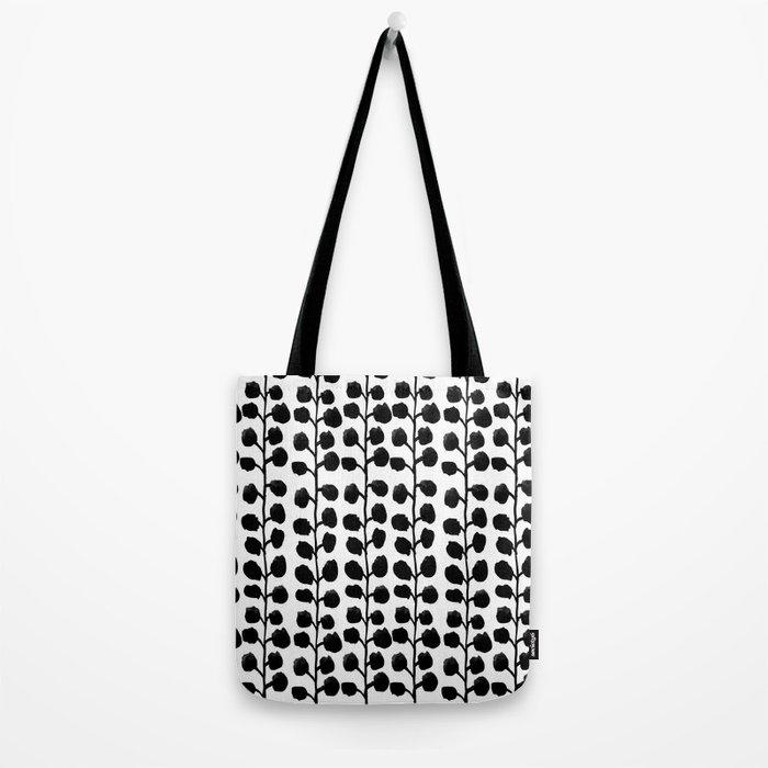 Black and white minimal modern petals leaves bloom spring summer monochromatic urban dorm decor Tote Bag