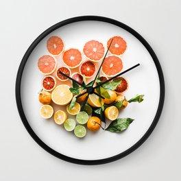Lemon orange leaf Wall Clock