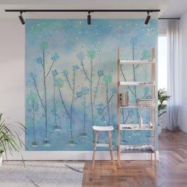 Blue Field of Flowers Wall Mural