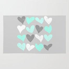 Mint white grey grunge hearts Rug