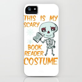 Lustiges Skelett Bücherwurm Kostüm Design für Halloween design iPhone Case