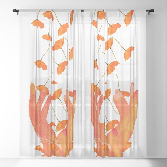 Wonderful Poppy Flowers Orange C, Sheer Orange Curtains