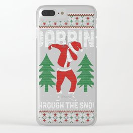 Christmas Dabbin Through The Snow Clear iPhone Case