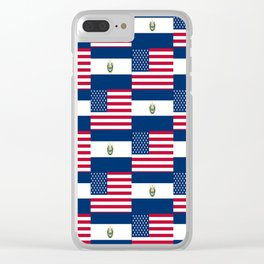 Mix of flag :  Usa and Salvador Clear iPhone Case