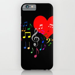 Singing Heart Color On Black iPhone Case