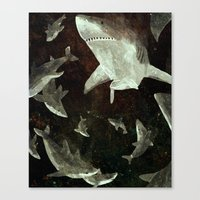 sharks Canvas Prints featuring sharks by Lara Paulussen
