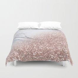 Blush Pink Sparkles on White and Gray Marble V Duvet Cover
