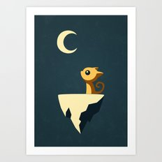Moon Cat Art Print