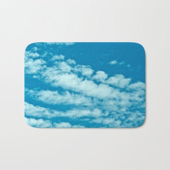 Beautiful blue sky and fluffy clouds Bath Mat