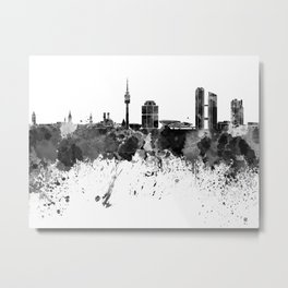 Munich skyline in black watercolor Metal Print