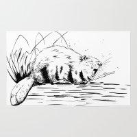 beaver Area & Throw Rugs featuring Beaver Yawn by Angela B Comics