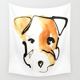 Black Ink and Watercolor Jack Russell Terrier Dog Wall Tapestry