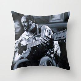 Blues Man With Guitar Throw Pillow