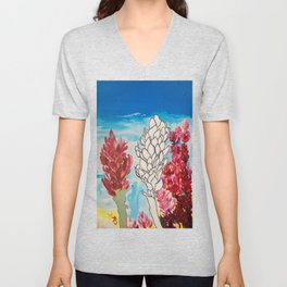 Alpinia purpurata – Red Ginger Flower Unisex V-Neck