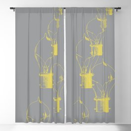 Lightbulb in Grey and Yellow Blackout Curtain