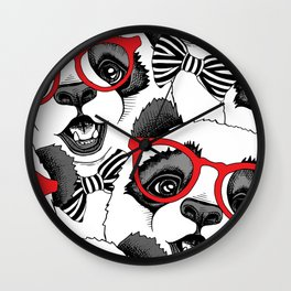 Seamless pattern with image of a Panda child in a red glasses with a tie. Wall Clock