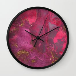 Pink and Gold Blush Rose Glitter Gemstone Marble Wall Clock