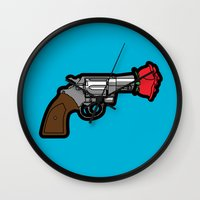 banksy Wall Clocks featuring Pop Icon - Banksy by Greg-guillemin
