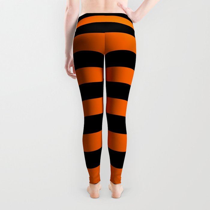 Black & Orange Stripes Leggings