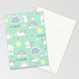 I'm a unicorn - green Stationery Cards