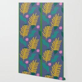 Yellow Ochre Palm Cut-Out Wallpaper
