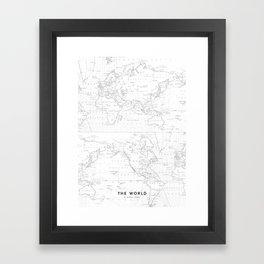 Vertical Worldmap. Nordic style Framed Art Print