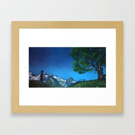 CHILD IN THE MOUNTAIN Framed Art Print